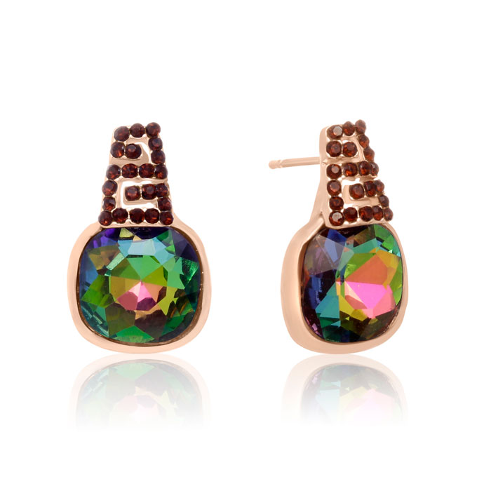 Mystic Topaz Swarovski Elements Stud Earrings, Gold Overlay, Pushbacks