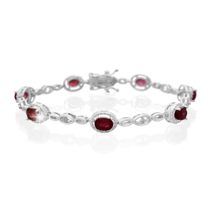 4 1/2 Carat Oval Shape Ruby and Halo Diamond Bracelet, Platinum Overlay, 7 Inches