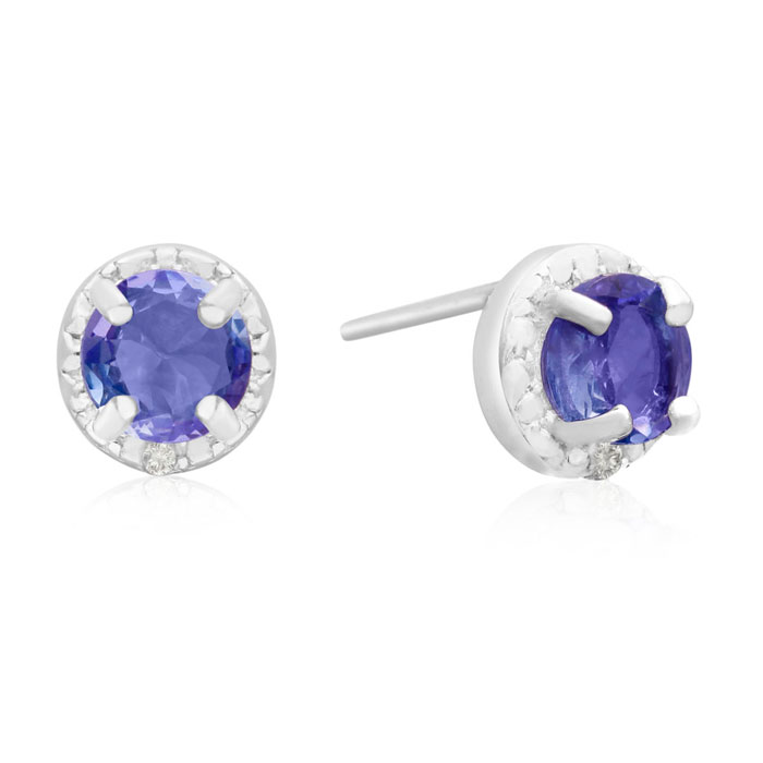 1ct Tanzanite and Diamond Halo Earrings