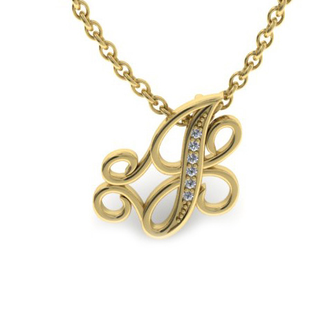 J Initial Necklace In Yellow Gold With 6 Diamonds