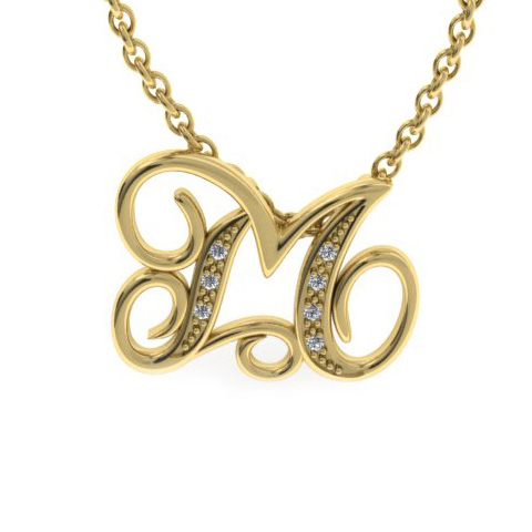 M Initial Necklace In Yellow Gold With 7 Diamonds
