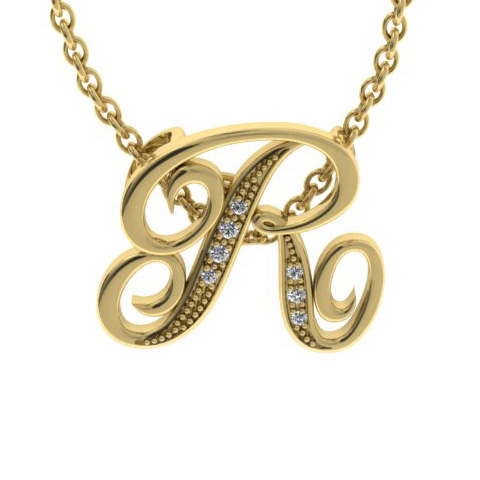 R Initial Necklace In Yellow Gold With 7 Diamonds