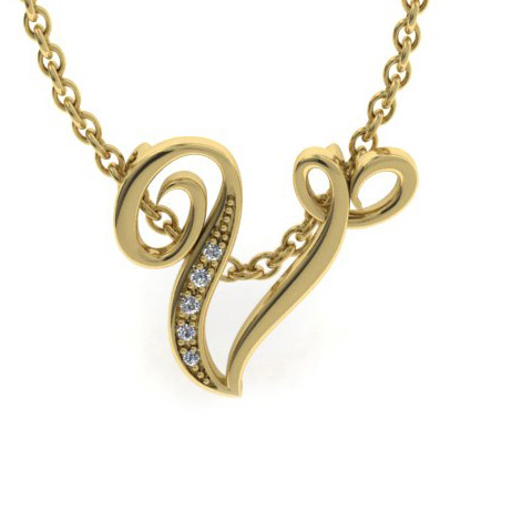 V Initial Necklace In Yellow Gold With 5 Diamonds
