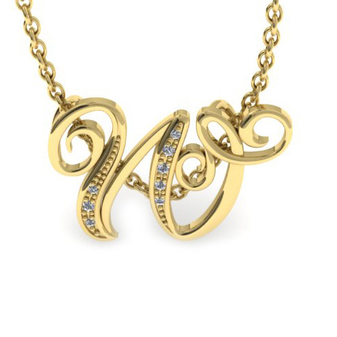W Initial Necklace In Yellow Gold With 7 Diamonds