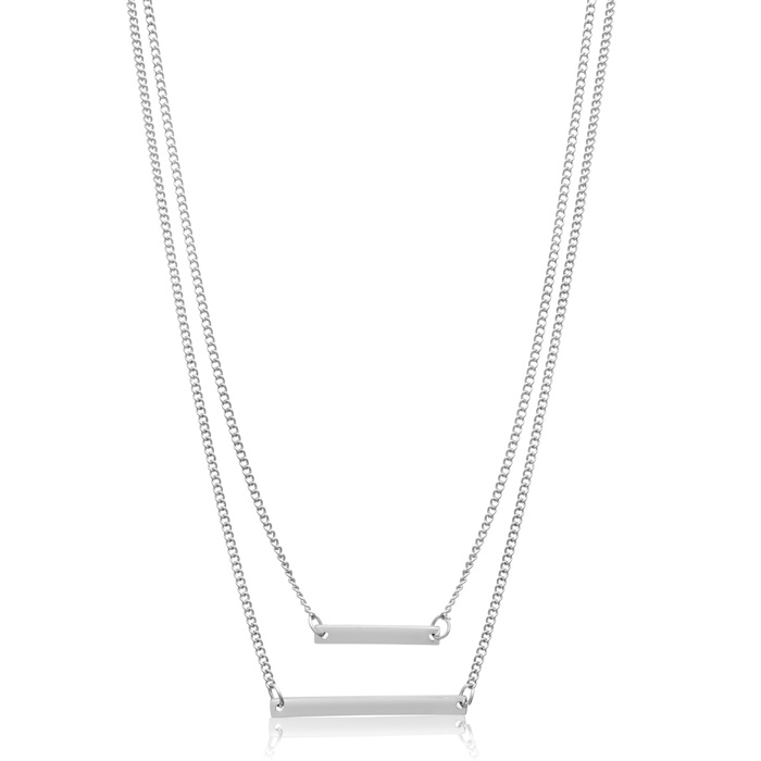 Double Bar Necklace, White