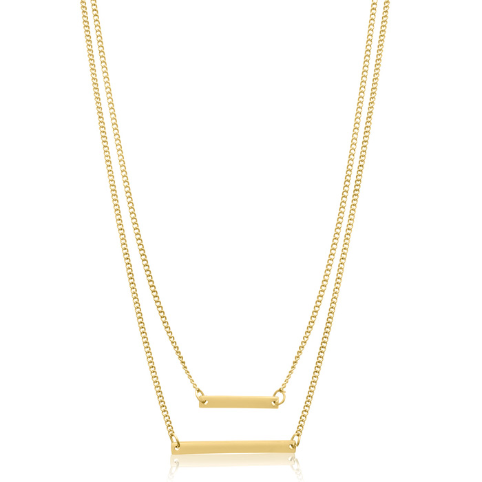 Double Bar Necklace, Yellow
