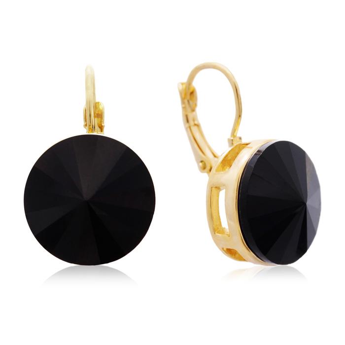 30 Carat Black Onyx Crystal Earrings, Gold Overlay