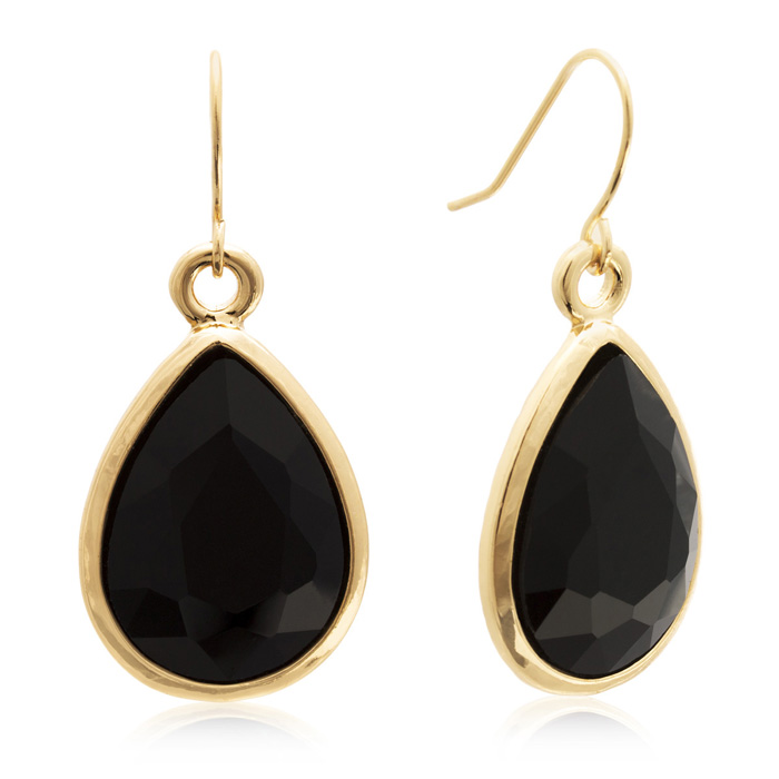 18 Carat Pear Shape Black Onyx Crystal Earrings