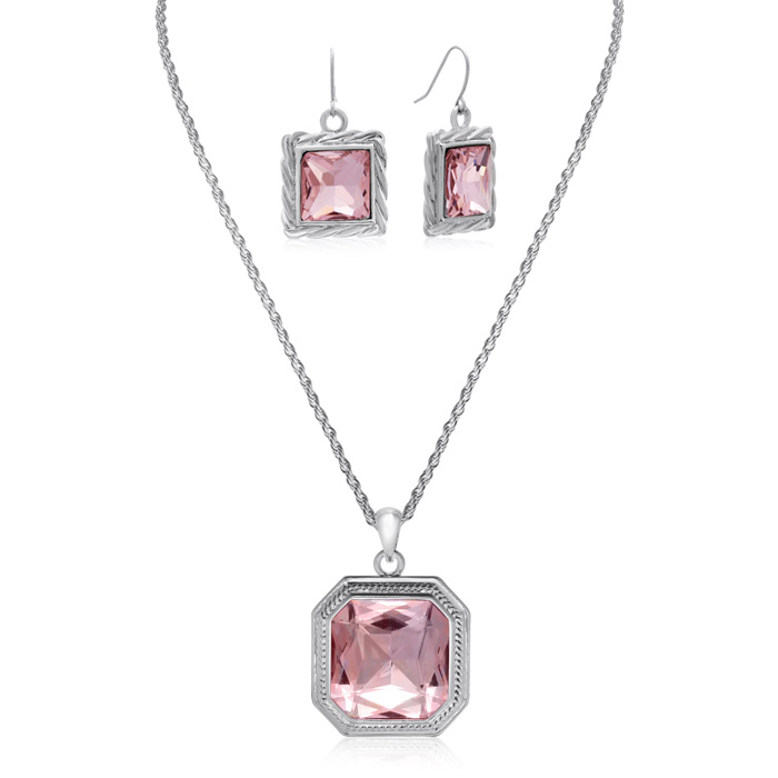 Pink Topaz Necklace With Free Matching Earrings