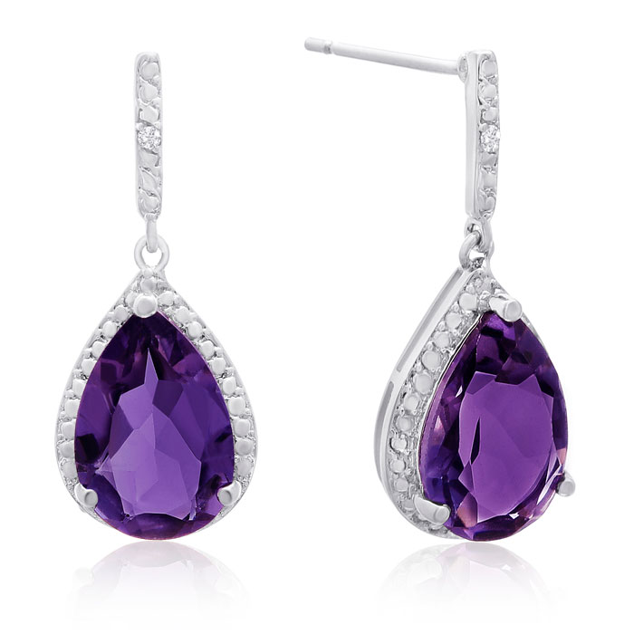 7ct Amethyst and Diamond Teardrop Earrings