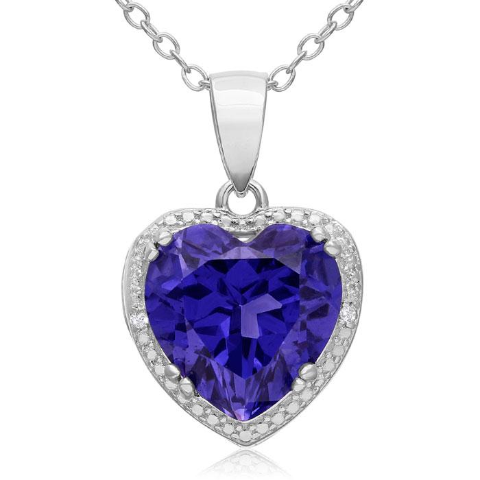 3ct Created Tanzanite and Diamond Heart Necklace