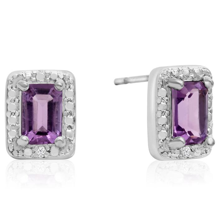 1ct Emerald Shape Amethyst and Diamond Halo Earrings