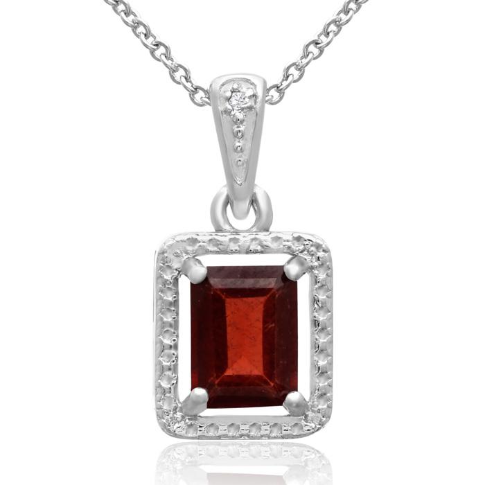 1 3/4ct Emerald Shape Garnet and Diamond Halo Necklace