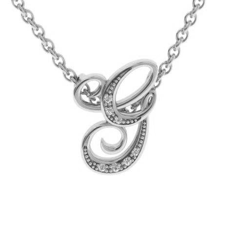 G Initial Necklace In White Gold With 7 Diamonds