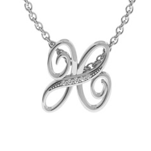 H Initial Necklace In White Gold With 5 Diamonds