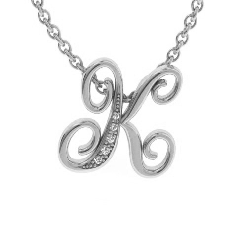 K Initial Necklace In White Gold With 5 Diamonds