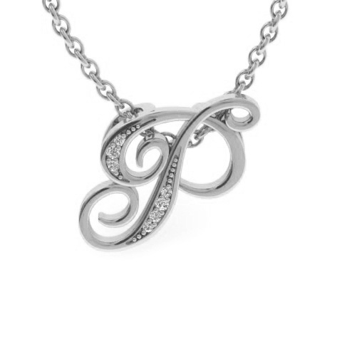 P Initial Necklace In White Gold With 7 Diamonds