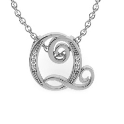 Q Initial Necklace In White Gold With 7 Diamonds