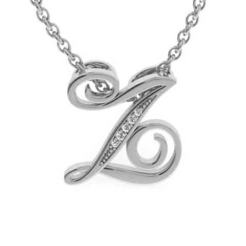 Z Initial Necklace In White Gold With 5 Diamonds