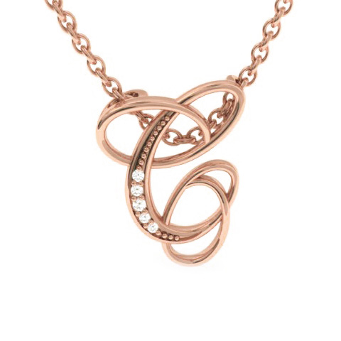 C Initial Necklace In Rose Gold With 5 Diamonds