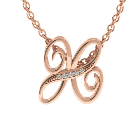 H Initial Necklace In Rose Gold With 5 Diamonds