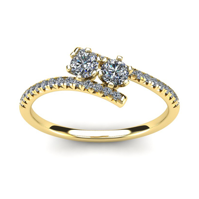 1/2 Carat Two Stone Diamond Ring In 14K Yellow Gold