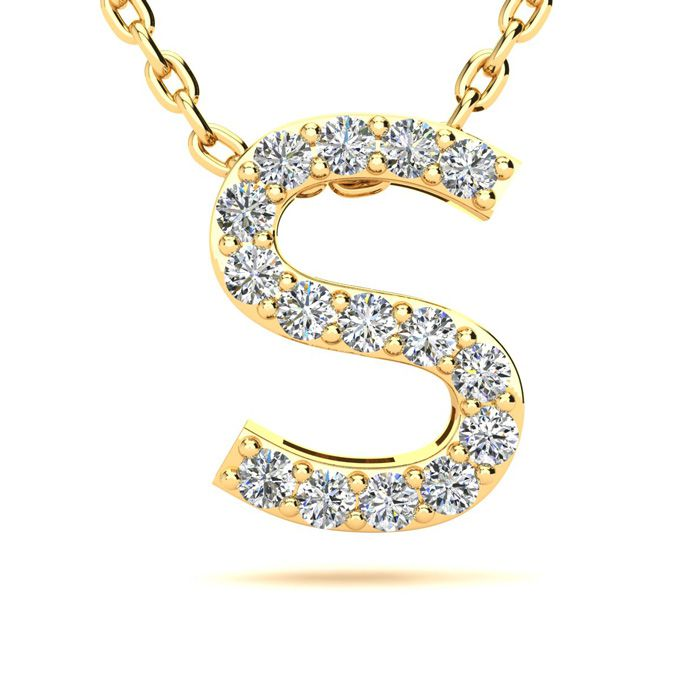 S Initial Necklace In Yellow Gold With 15 Diamonds