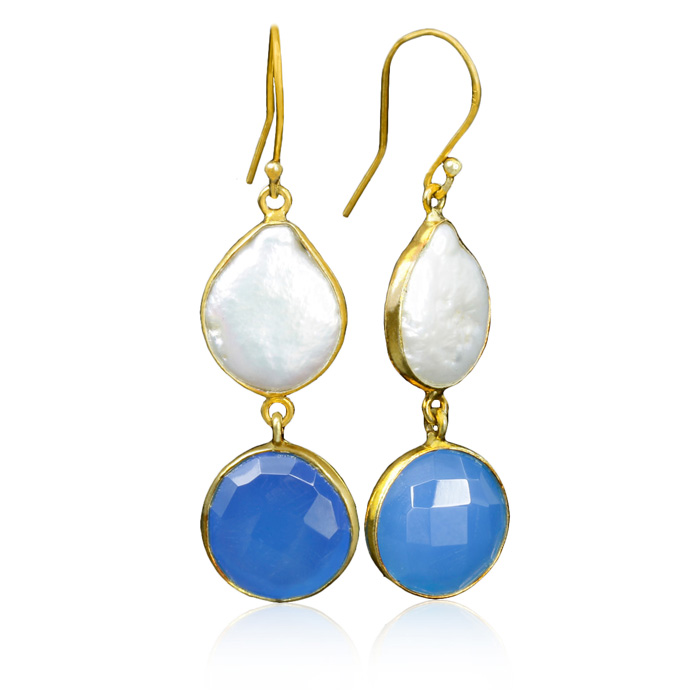 20 Carat Blue Chalcedony and Pearl Earrings in Sterling Silver with Gold Overlay