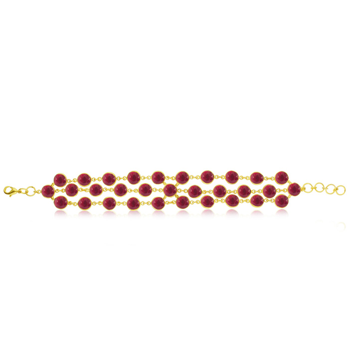 30 Carat Natural Triple Strand Ruby Bracelet, 7 Inches