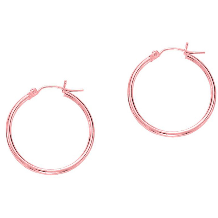 14 Karat Rose Gold Polish Finished 25mm Hoop Earrings With Hinge With Notched Closure