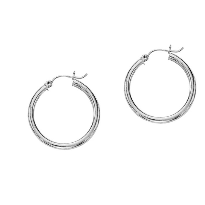 14 Karat White Gold Polish Finished 20mm Hoop Earrings With Hinge With Notched Closure
