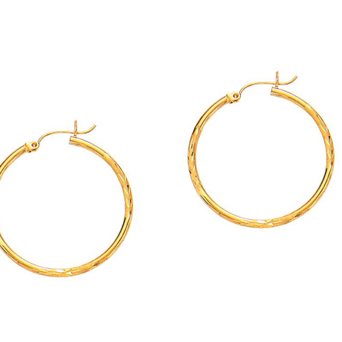 14 Karat Yellow Gold Polish Finished 30mm Diamond Cut Hoop Earrings With Hinge With Notched Closure