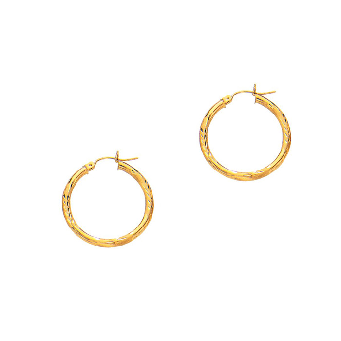 14 Karat Yellow Gold Polish Finished 25mm Diamond Cut Hoop Earrings With Hinge With Notched Closure