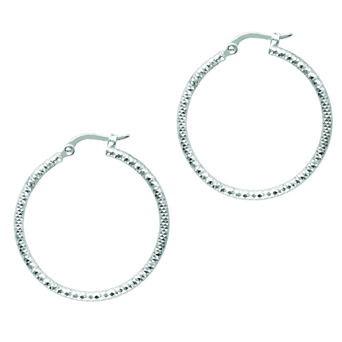 14 Karat White Gold Polish Finished 25mm Etched Hoop Earrings With Hinge With Notched Closure