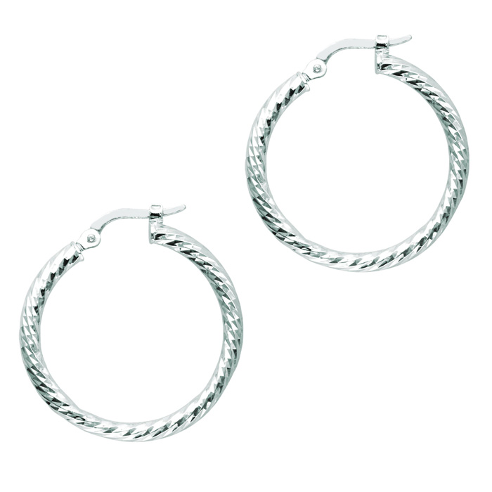 14 Karat White Gold Polish Finished 22mm Etched Hoop Earrings With Hinge With Notched Closure