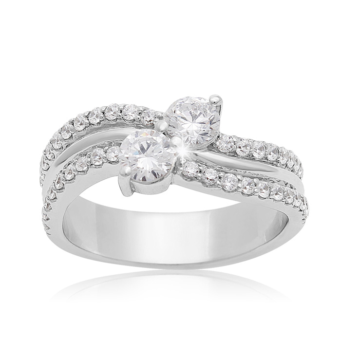 1 Carat Two Stone Diamond Arch Ring In 14K White Gold
