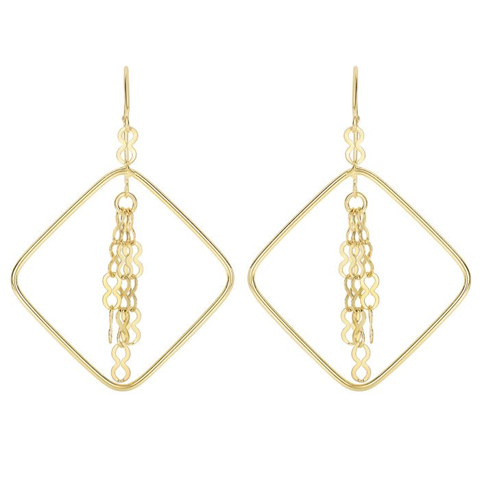 14 Karat Yellow Gold Polish Finished Infinity Tassel Dangle Earring With Fishhook Backs, 1 1/2 Inches