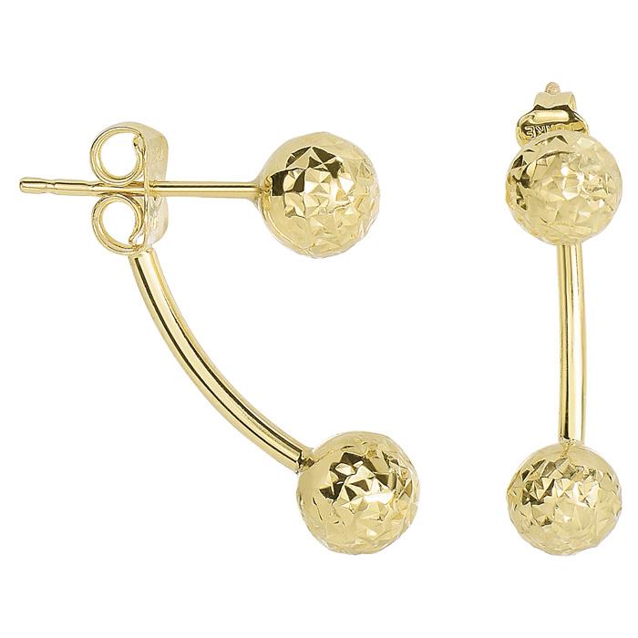 14 Karat Yellow Gold Diamond Cut 19.4x6mm Double Ball Drop Earrings With Friction Backs