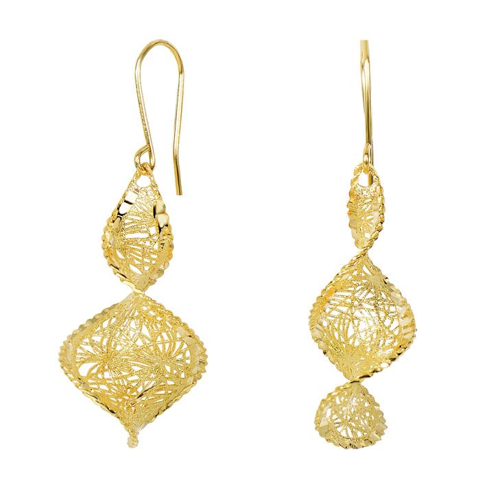 14 Karat Yellow Gold 40x17mm Graduated Mesh Swirl Earrings With Fishhook Backs