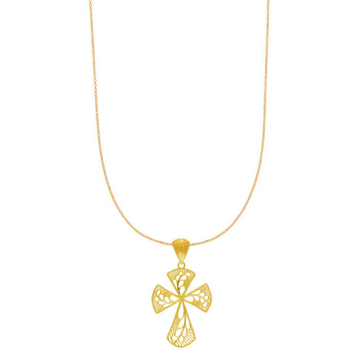 14 Karat Yellow Gold 40x23mm Gothic Filigree Cross Necklace, 18 inches