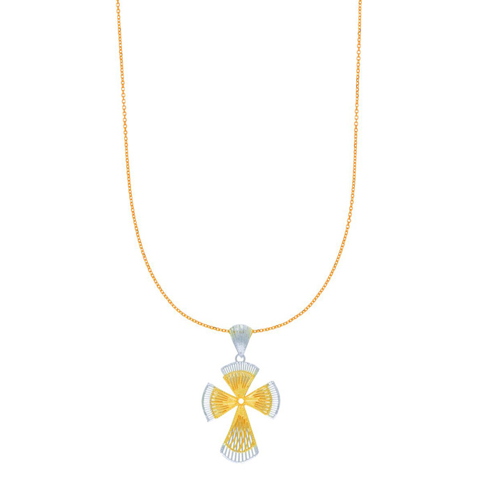 14 Karat Yellow and White Gold 40x23mm Two-Tone Gothic Cross Necklace, 18 inches