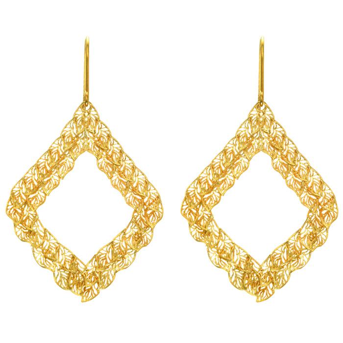 14 Karat Yellow Gold 40x30mm Filigree Leaf Earrings With Fishhook Backs