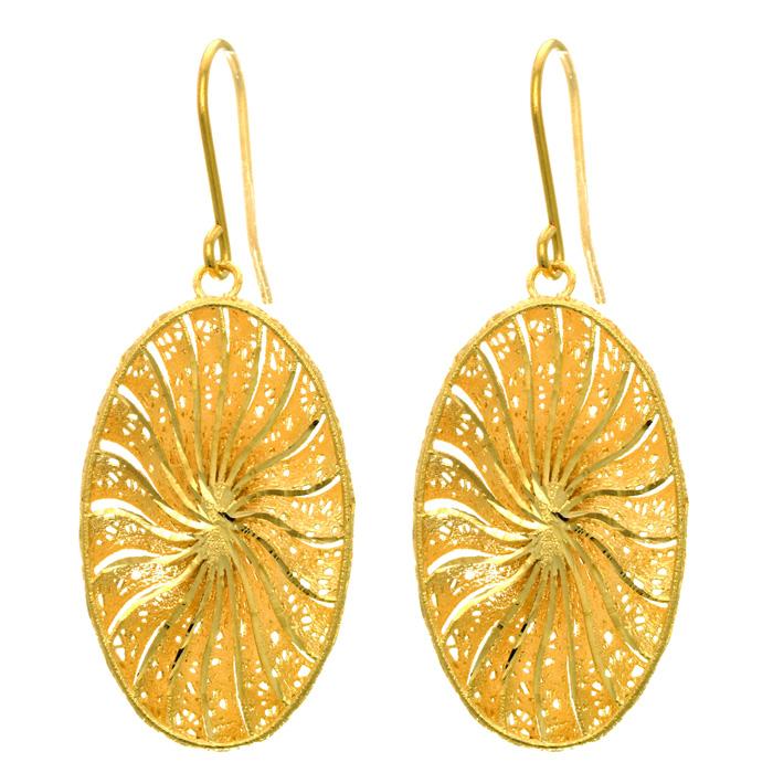 14 Karat Yellow Gold 29x16mm Oval Shaped Starburst Earrings With Fishhook Backs