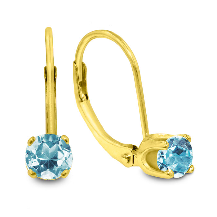 1/2ct Solitaire Aquamarine Leverback Earrings, 14k Yellow Gold