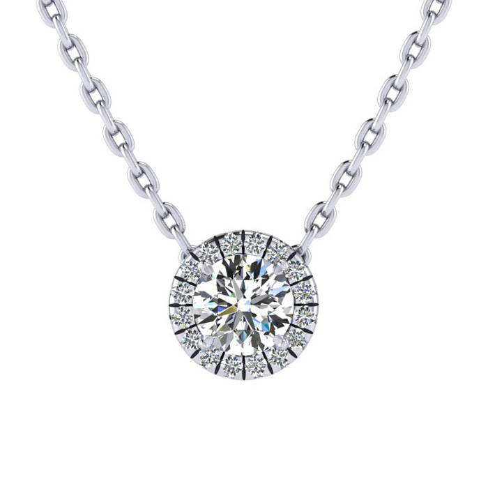 1/2ct Diamond Halo Center Of The Universe Necklace In 14K White Gold