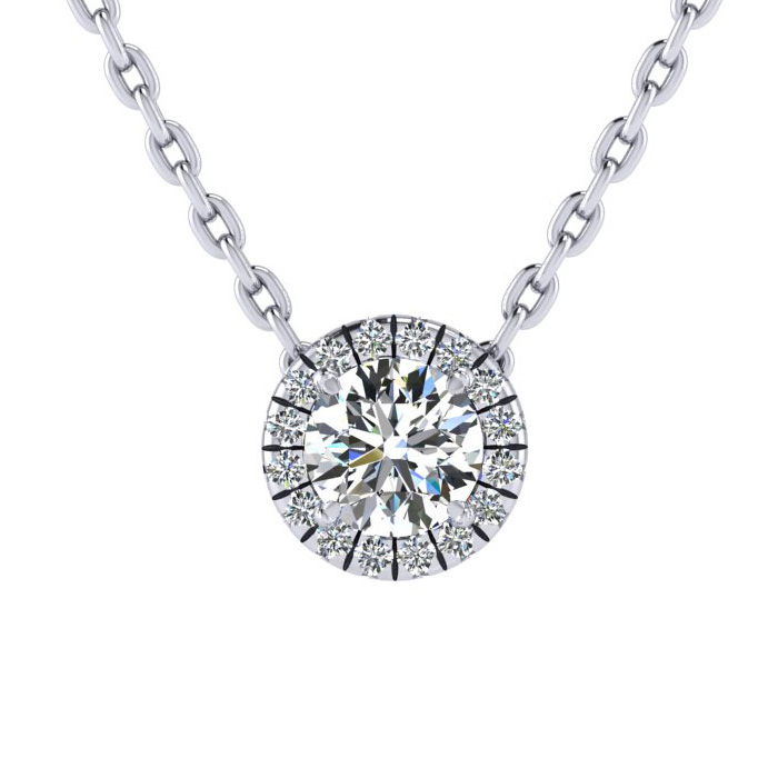 7/8ct Diamond Halo Center Of The Universe Necklace In 14K White Gold
