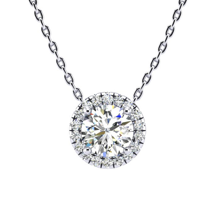 1 1/5ct Diamond Halo Center Of The Universe Necklace In 14K White Gold