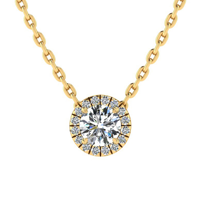 1/2ct Diamond Halo Center Of The Universe Necklace In 14K Yellow Gold