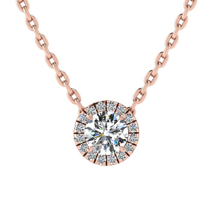 1/2ct Diamond Halo Center Of The Universe Necklace In 14K Rose Gold