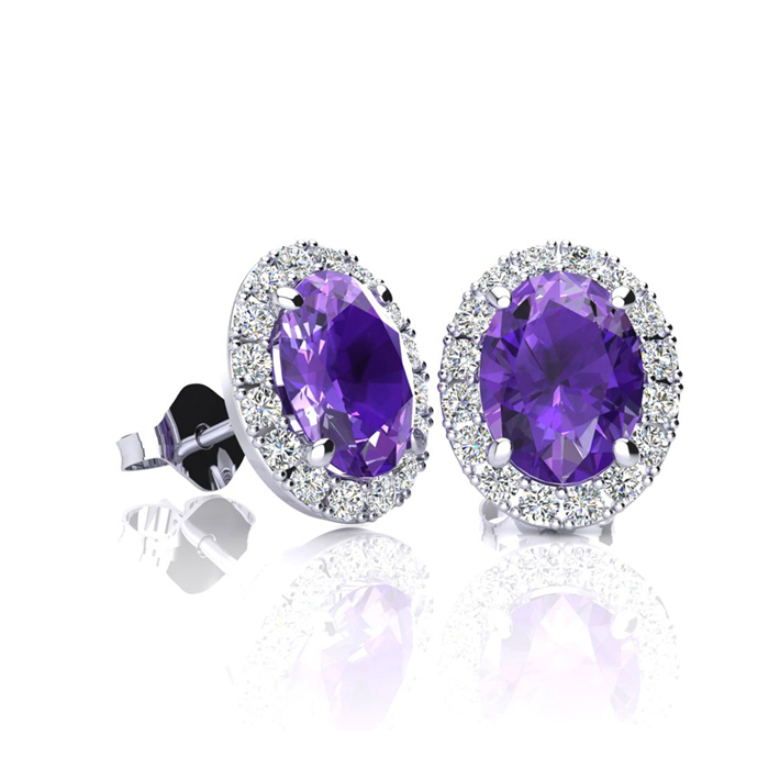 1 Carat Oval Shape Amethyst and Halo Diamond Stud Earrings In 10 Karat White Gold